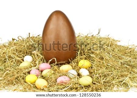 Chocolate egg in straw