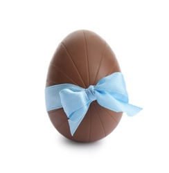 Chocolate egg with light blue bow isolated on white