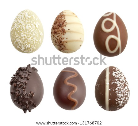 Chocolate Eggs Collection On White Background