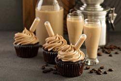 Chocolate espresso cupcakes with irish cream liquor infusers