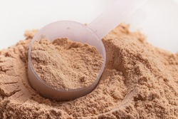 chocolate flavor whey protein powder in close-up.