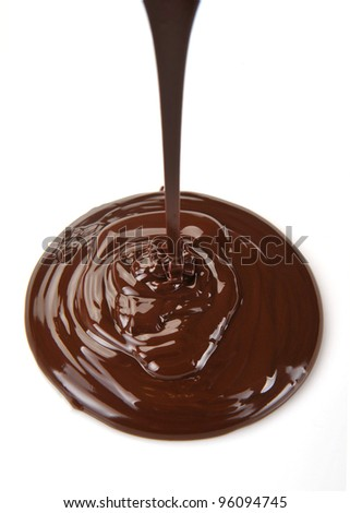 Chocolate flow isolated on white background