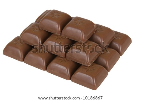 Chocolate forming a pyramid. White background