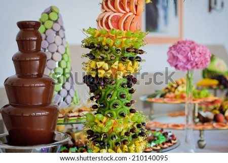 Free Photos Chocolate Fountain On Table In Wedding Banquet Avopix