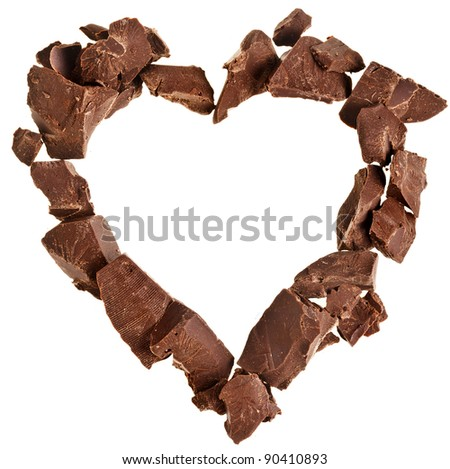 chocolate frame card  in a shape of heart  isolated on white background