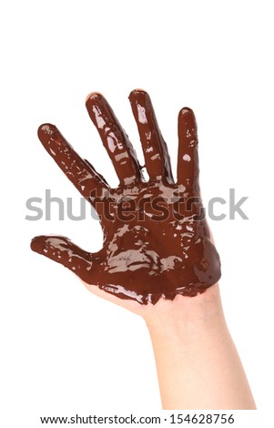 Chocolate hand. Isolated on a white background