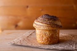 Chocolate hazelnut cruffin (croissant muffin)