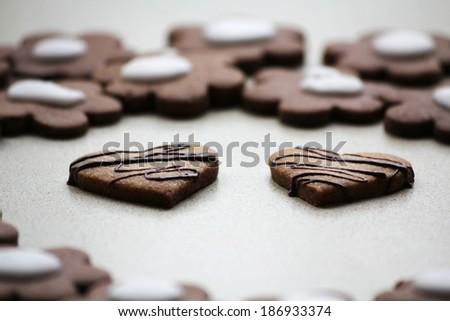 Chocolate heart cookies - stock photo