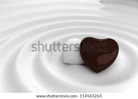 Chocolate heart in hot chocolate - stock photo