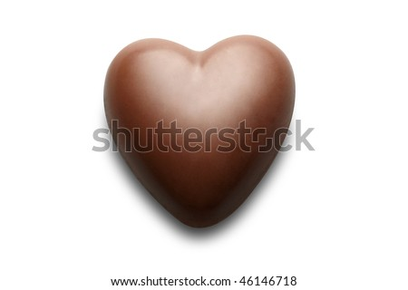 Chocolate heart isolated on the white background.