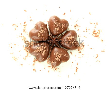 Chocolate hearts isolated on white - stock photo
