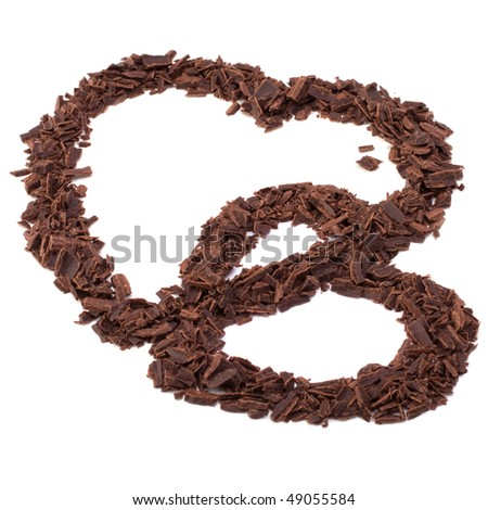 chocolate hearts isolated on white