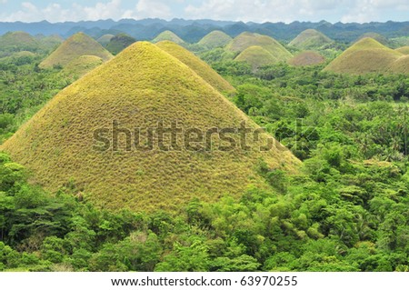 Chocolate Hills in Bohol, Philippines are earth mounds scattered all over the town of Carmen.