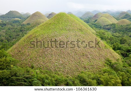 Chocolate Hills in Bohol, Visayas, Philippines - stock photo