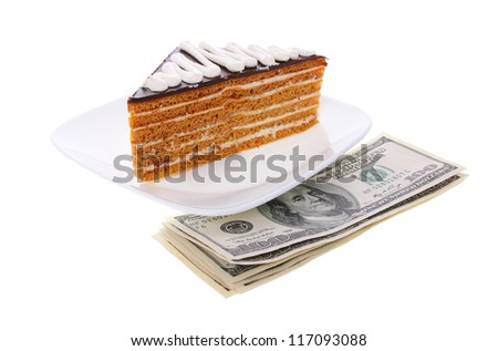 chocolate honey cake with money on white plate isolated on white background