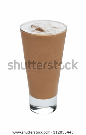 Chocolate ice cream milkshake isolated on white background