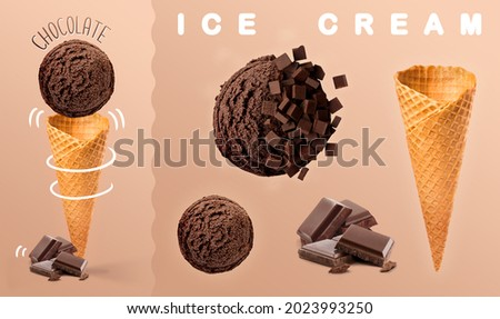 Chocolate ice cream. Scoops of chocolate ice cream with waffle cone and chocolate photography. 3D illustration for banners, landing pages and web pages with summer motifs