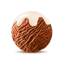 chocolate ice cream with scoop vanilla sauce, white syrup topping on brown cocoa ice-cream ball