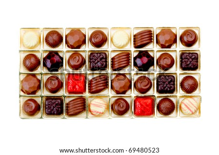 Chocolate in a gift box isolated on white