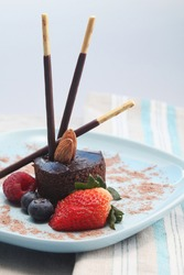 Chocolate indulgence dessert. Conceptual image view shot