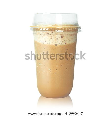 Chocolate latte coffee in plastic cup isolated on white background. Brown mocha milk. ( Clipping path ) #1412990417