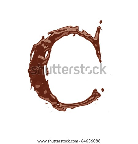 Chocolate letter C isolated on white background