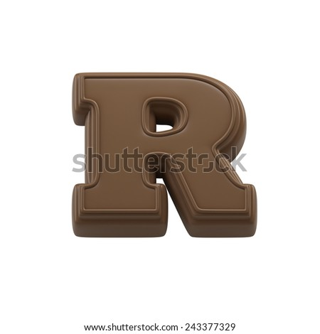 Chocolate Letter R. Sweet Candy Font For Celebration. Made In 3D