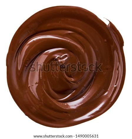 Chocolate liquid circle of dark cocoa isolated on white background, beautiful swirling shape #1490005631