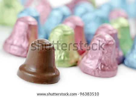 chocolate little bells, on white background