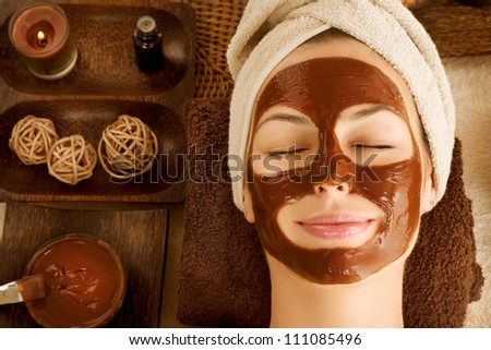 Chocolate Luxury Spa. Facial Mask - stock photo