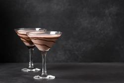 Chocolate Martini Cocktail on dark background, copy space. Mudslide Truffletini cocktail.