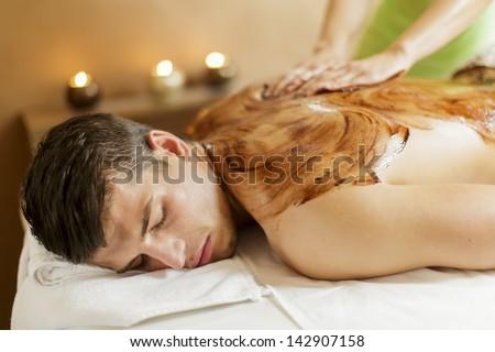 Chocolate massage - stock photo