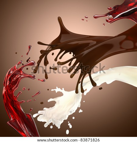 Chocolate milk and cherry syrup splashes in motion - stock photo