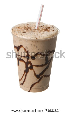 Chocolate milk shake in a plastic cup isolated on white