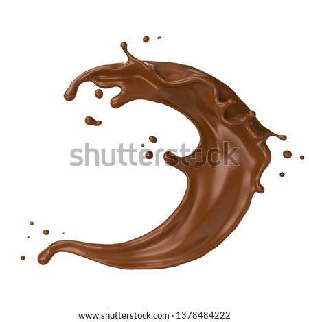 Chocolate Milk splash in shape of spiral and twist, 3d illustration.