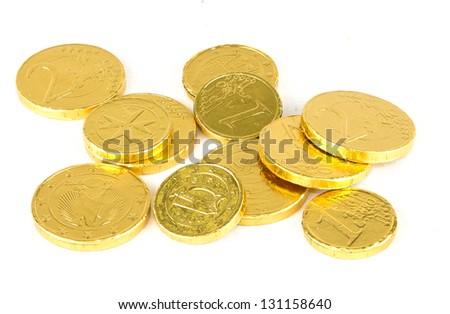 chocolate money - stock photo