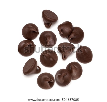 Chocolate morsels spread from top isolated on white background from top   #504687085
