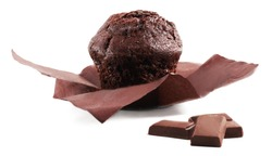 Chocolate muffin and chocolate bars isolated on a white background. Open Paper wrapper. Side view