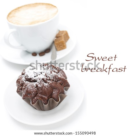 chocolate muffin and cup of cappuccino with brown sugar, isolated on white