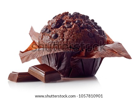 Stock Photo Chocolate muffin in brown paper with chocolate pieces isolated on white background