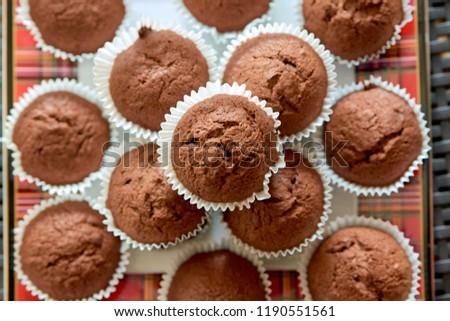 Chocolate muffins. Chocolate cupcakes. Dessert. Sweets. Homemade sweets. Homemade muffins. #1190551561