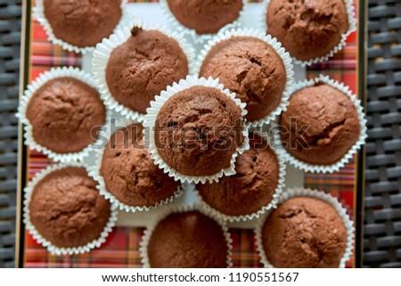 Chocolate muffins. Chocolate cupcakes. Dessert. Sweets. Homemade sweets. Homemade muffins. #1190551567