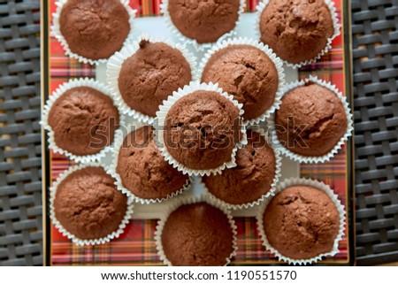 Chocolate muffins. Chocolate cupcakes. Dessert. Sweets. Homemade sweets. Homemade muffins. #1190551570