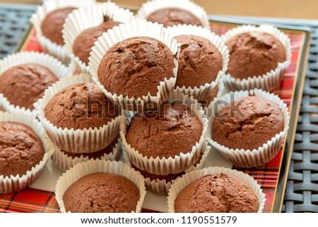 Chocolate muffins. Chocolate cupcakes. Dessert. Sweets. Homemade sweets. Homemade muffins. #1190551579