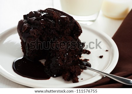 chocolate muffins with chocolate chips and chocolate sauce on white plate
