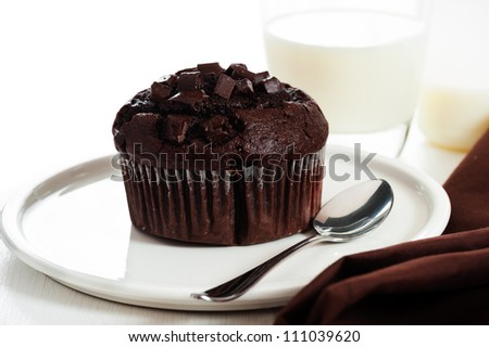 chocolate muffins with chocolate chips on the top on white plate - stock photo