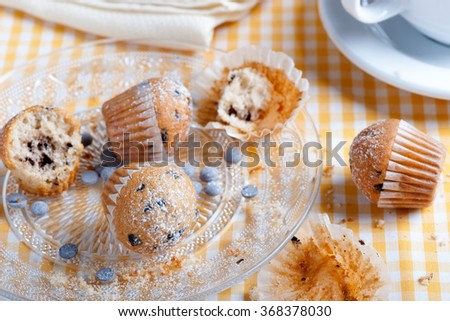 chocolate muffins with chopped closeup cup of coffee