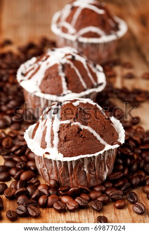 chocolate muffins with coffee