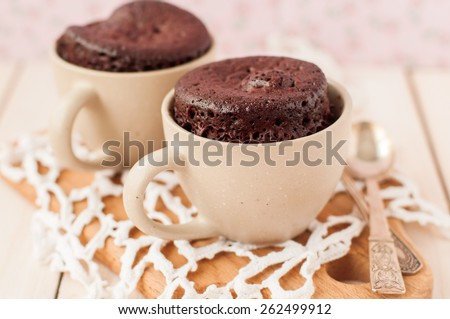 Chocolate Mug Cakes, Cupcakes, copy space for your text