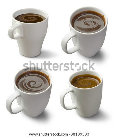 chocolate mug isolated on a white,  set of full-size images with different patterned surfaces